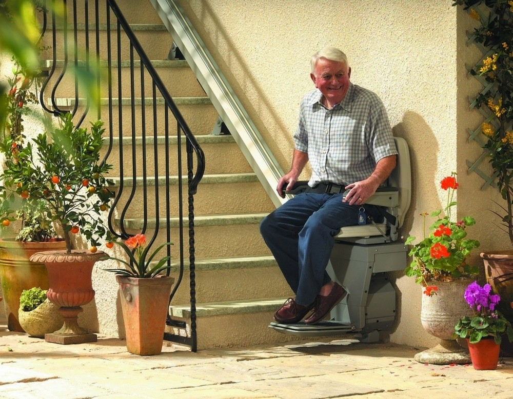 Man on Stair Lift Chair